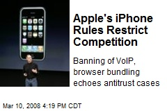 Apple's iPhone Rules Restrict Competition