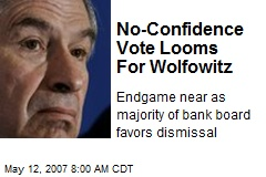 No-Confidence Vote Looms For Wolfowitz