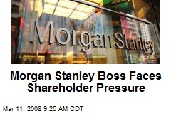 Morgan Stanley Boss Faces Shareholder Pressure