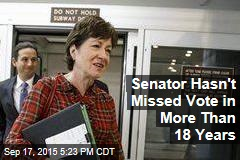 Senator Hasn't Missed Vote in More Than 18 Years
