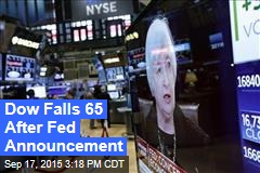 Dow Falls 65 After Fed Announcement