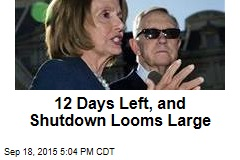 12 Days Left, and Shutdown Looms Large