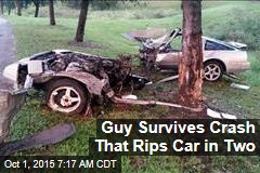 Guy Survives Crash That Rips Car in Two