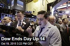 Dow Ends Day Up 14