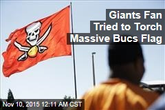 Giants Fan Tried to Torch Massive Bucs Flag