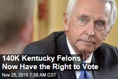 140K Kentucky Felons Now Have the Right to Vote
