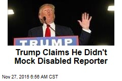 Trump Claims He Didn't Mock Disabled Reporter