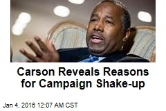 Carson Reveals Reasons for Campaign Shake-up