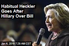 Habitual Heckler Goes After Hillary Over Bill