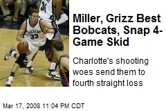 Miller, Grizz Best Bobcats, Snap 4-Game Skid