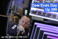 Dow Ends Day Up 396