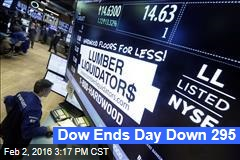 Dow Ends Day Down 295