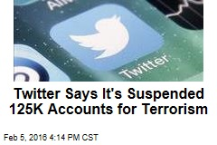Twitter Says It's Suspended 125K Accounts for Terrorism