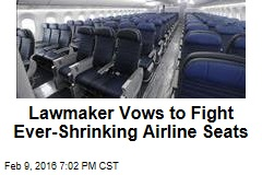 Lawmaker Vows to Fight Ever-Shrinking Airline Seats