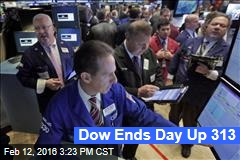 Dow Ends Day Up 313