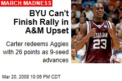 BYU Can't Finish Rally in A&M Upset