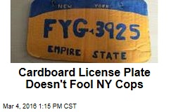 Cardboard License Plate Doesn't Fool NY Cops