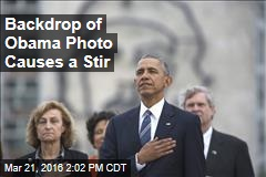 Backdrop of Obama Photo Causes a Stir