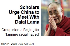 Scholars Urge China to Meet With Dalai Lama