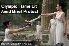 Olympic Flame Lit Amid Brief Protest