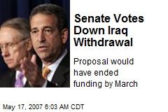Senate Votes Down Iraq Withdrawal
