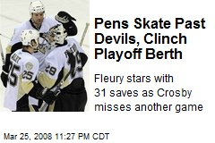 Pens Skate Past Devils, Clinch Playoff Berth