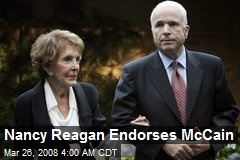 Nancy Reagan Endorses McCain