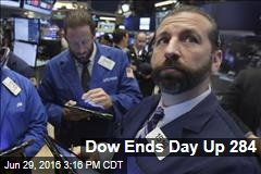 Dow Ends Day Up 284