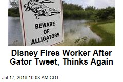 Disney Fires Worker After Gator Tweet, Thinks Again