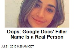 Oops: Google Docs' Filler Name Is a Real Person