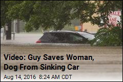 Video: Guy Saves Woman, Dog From Sinking Car