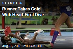 Runner Takes Gold With Head-First Dive