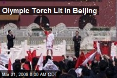 Olympic Torch Lit in Beijing