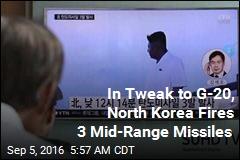 North Korea Fires 3 Mid-Range Missiles