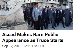 Assad Makes Rare Public Appearance as Truce Starts