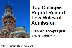 Top Colleges Report Record Low Rates of Admission