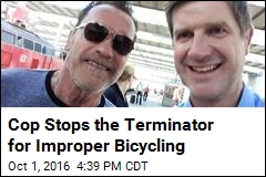 Cop Stops the Terminator for Improper Bicycling