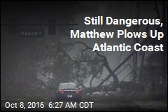Still Dangerous, Matthew Plows Up Atlantic Coast