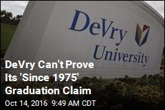 DeVry Can't Prove Its 'Since 1975' Graduation Claim