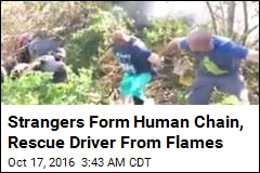 Strangers Form Human Chain, Rescue Driver From Flames