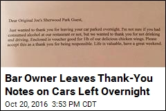 Bar Owner Leaves Thank-You Notes on Cars Left Overnight