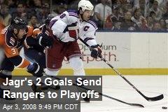Jagr's 2 Goals Send Rangers to Playoffs