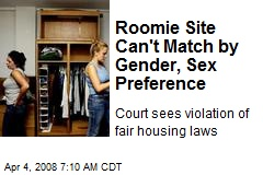 Roomie Site Can't Match by Gender, Sex Preference