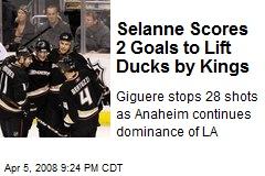 Selanne Scores 2 Goals to Lift Ducks by Kings