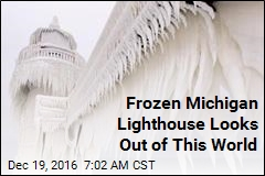 Frozen Mich. Lighthouse Looks Out of This World