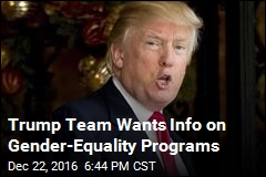 Trump Team Wants Info on Gender-Equality Programs
