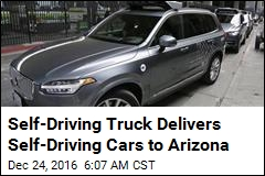 Self-Driving Truck Delivers Self-Driving Cars to Arizona