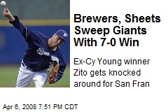 Brewers, Sheets Sweep Giants With 7-0 Win