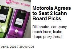 Motorola Agrees to Seat 2 Icahn Board Picks