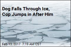 Dog Falls Through Ice, Cop Jumps in After Him